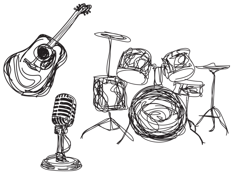 sketch of drums guitar and microphone