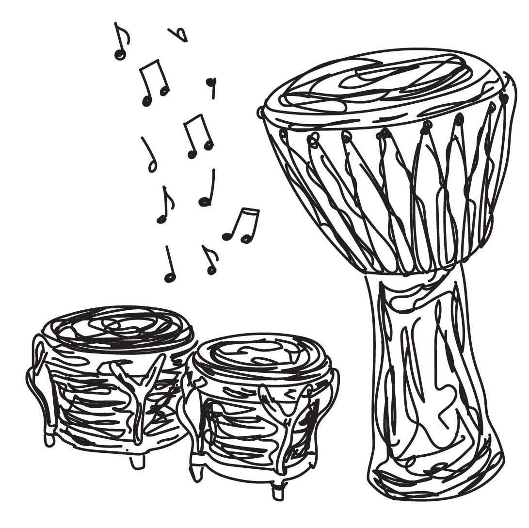 sketch of drums and bongos