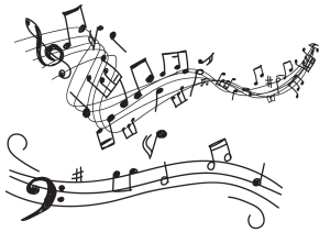 sketch of musical notes