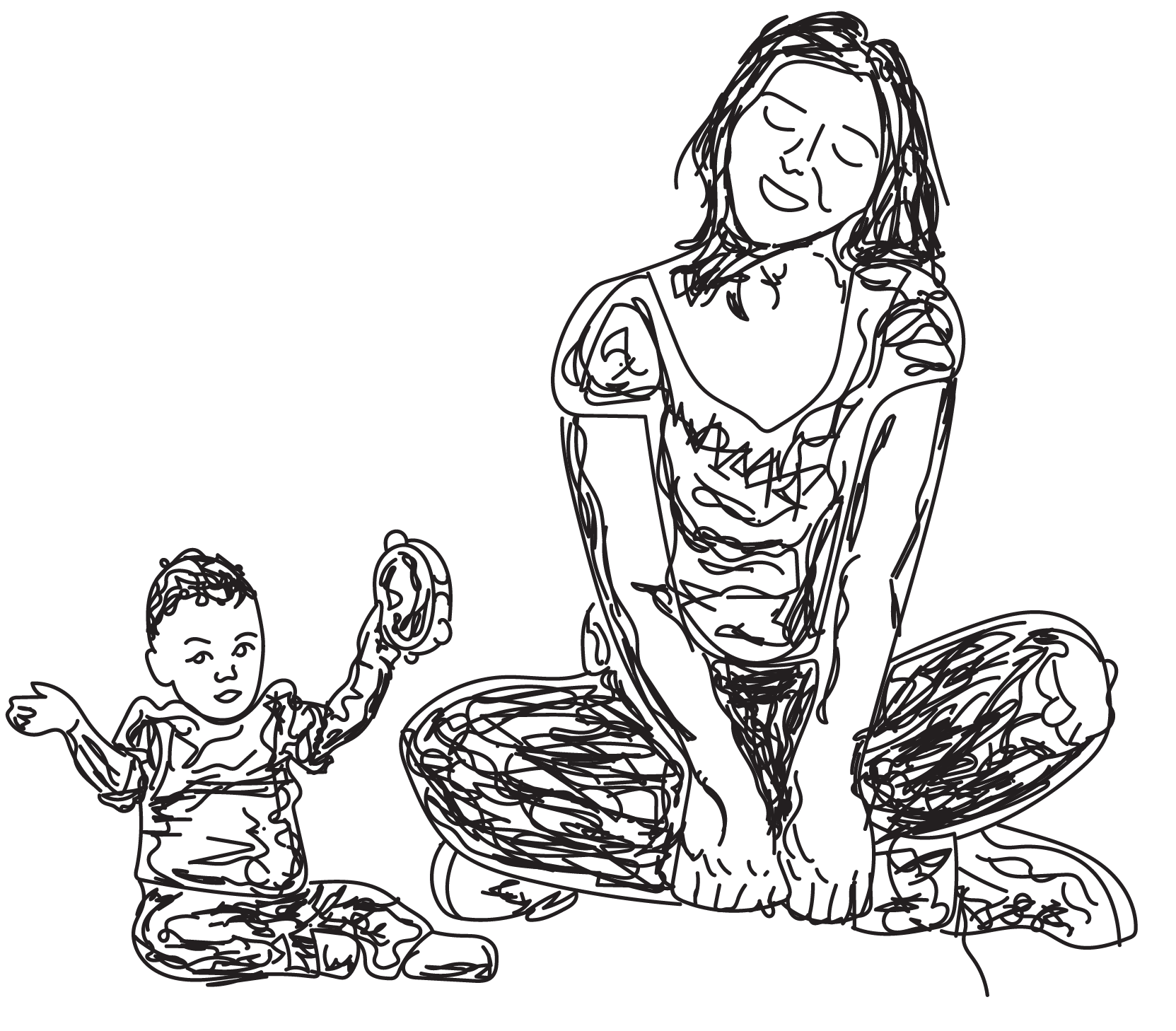 sketch of mother and child