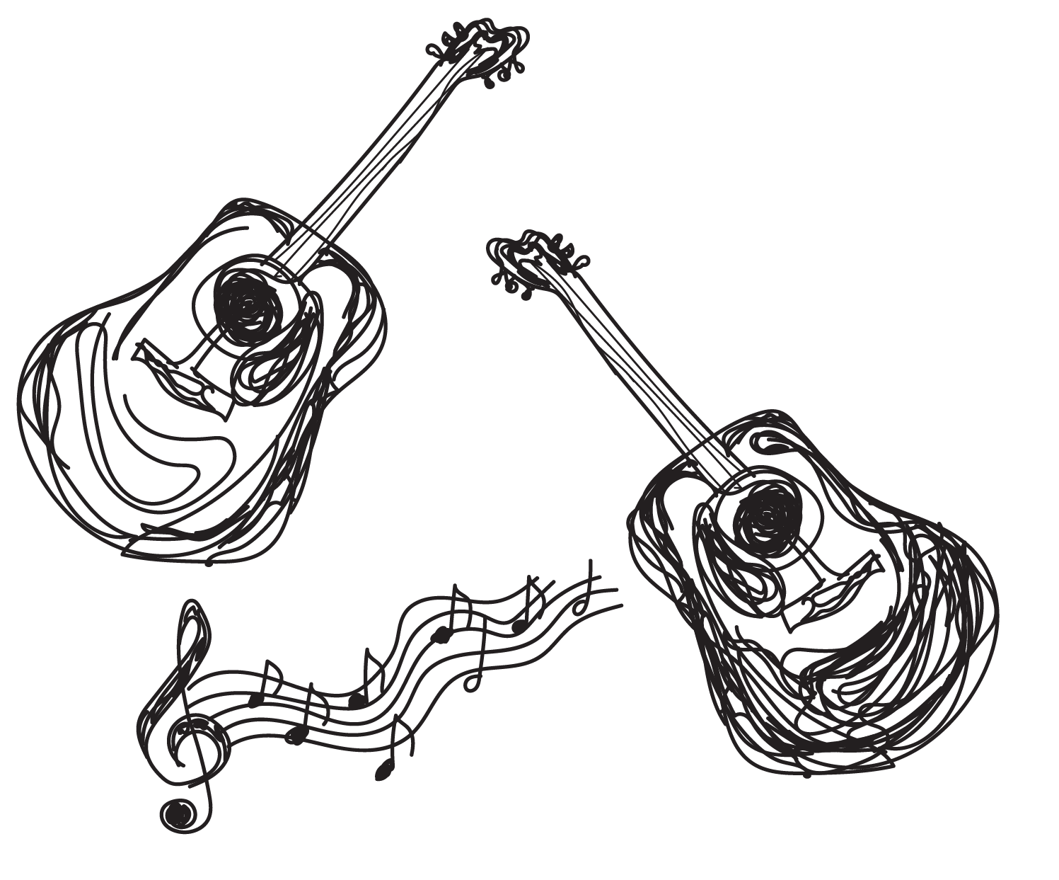 sketch of two guitars and music notes