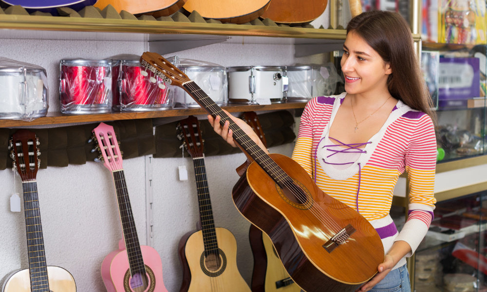 buying your first guitar at a local store