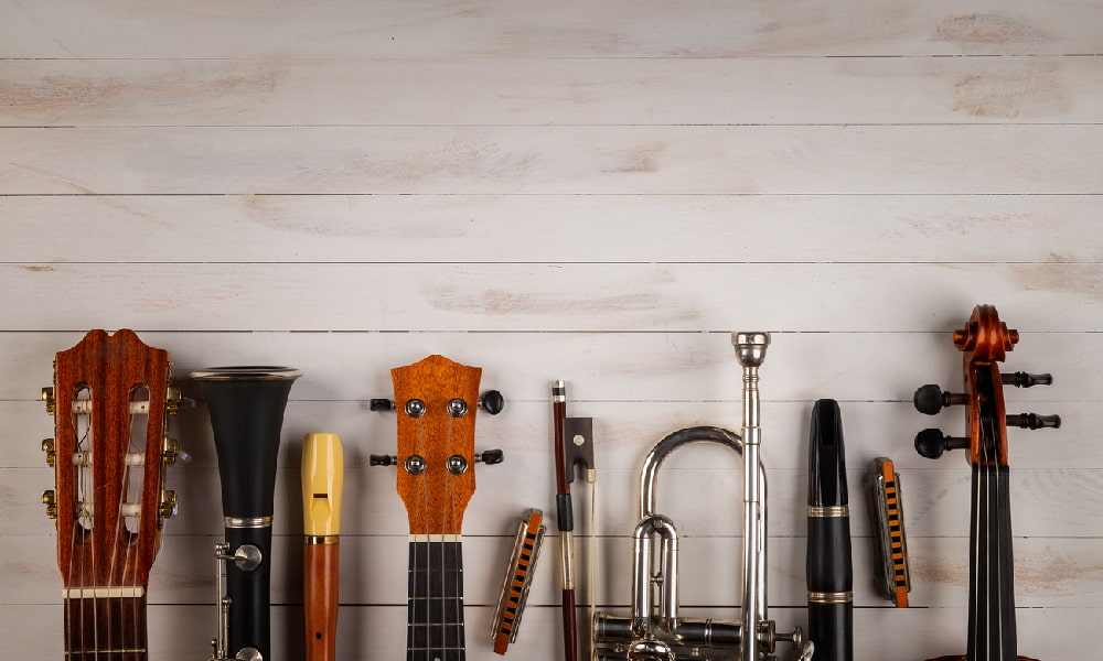 A lineup of guitars, woodwind, strings, and brass illustrates the pitch range of musical instruments.