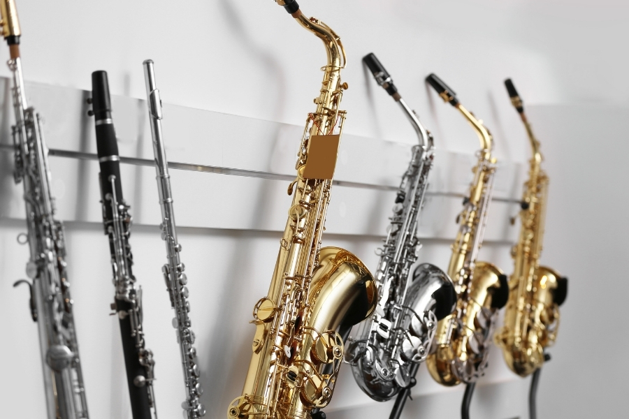 saxophone in music store