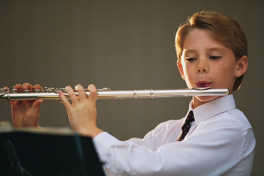 plaing the flute
