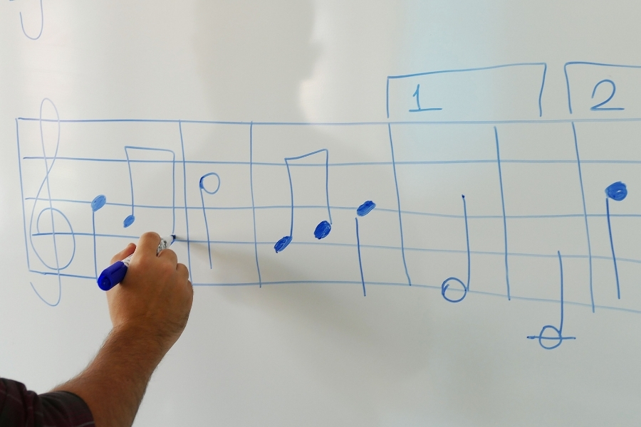 teacher writing musical notes